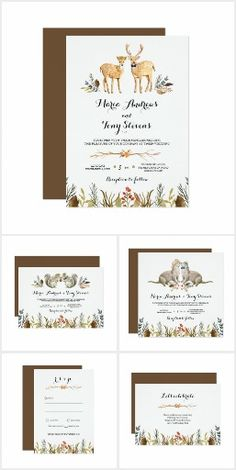 Rustic Boho Woodland Animal Wedding Suite. Features woodland animals and forest greenery #Ad