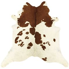 Ballard Designs Natural Cowhide Rug - White and Brown ($799) ❤ liked on Polyvore featuring home, rugs, cow skin rug, ballard designs, cow leather rug, cow hide rug and cowhide leather rug