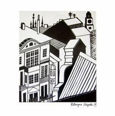 Dom XIII (Home XIII), linocut 2004  #linocut #linoryt #print #printing #druk #drukowanie #uljado