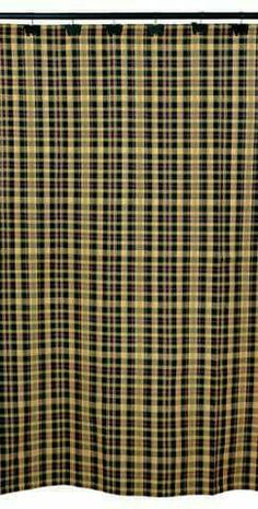 The Country Porch features the Tartan Shower Curtain from India Home Fashions. Plaid Shower Curtain, Fabric Shower Curtains, Primitive Homes, Country Primitive, Primitive Shower Curtains, Country Baths, Plaid Curtains, Valentines Sale, Bath Decor