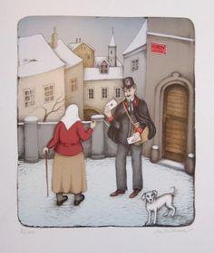 Hüttnerová Iva, Listonoš s babičkou Building Art, Post Box, Stage Decorations, Cityscapes, Surrealism, Illustration Art, Strong, Drawings, Artist