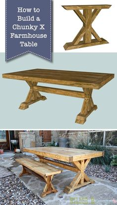 How to Build a Chunky X Farmhouse Table. How to Build a Chunky X Farmhouse Table. Want to build your own farmhouse table that will last for generations? Here's the tutorial for How to Build a Chunky X Farmhouse Table! Build A Farmhouse Table, Farmhouse Kitchen Tables, Farmhouse Furniture, Farmhouse Decor, Diy Kitchen Tables, Rustic Furniture, Furniture Price, Build A Table, Farmhouse Chairs