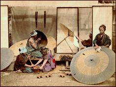 THE UMBRELLA MAKERS of OLD JAPAN Photo Historian TERRY BENNETT'S research points to this particular group of images having been taken in 1873 by Shinichi Suzuki.