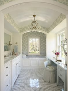 .Vanity with a window above it AND a tall ceiling - pretty colors!