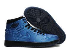 F4T6J082 authentique Nike Air Jordan 1 Retro Chaussures En Bleu Noir Chaussures Hommes, nike air jordan retro 1 pas cher