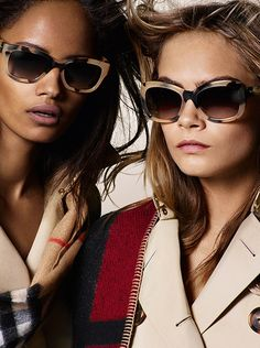 bdd24ed7b2e9 Malaika Firth and Cara Delevingne in the Autumn Winter 2014 campaign in new Burberry  eyewear