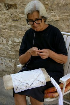 Lefkara lace, Cyprus. Strolling through the village, taking photos, I saw many ladies -old and young- sitting outside their doors stitching for hours each day.