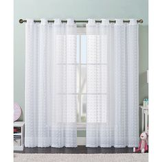 Victoria Classics White Elsa Curtain Panel ($15) ❤ liked on Polyvore featuring home, home decor, window treatments, curtains, white window panels, white curtain panels, textured curtains, rod pocket window panel and polyester curtains