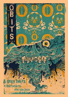 gig poster designs - Obits by Drew Millward. #illustration #gigposter #graphicdesign