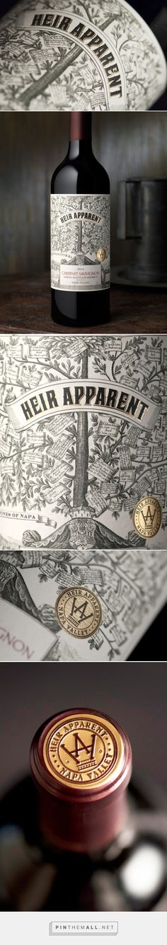 Heir Apparent wine label design by CF NAPA Brand Design - http://www.packagingoftheworld.com/2017/07/heir-apparent.html - created via https://pinthemall.net