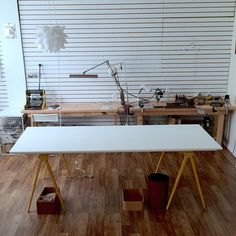 We're still making changes in the studio: Gave our rather dirty table a makeover yesterday with a coat of white paint. I can feel we are going to more inspired, more productive now:) #studio #workshop #jewelersbench #whitettable #handmadejewelry #lucajewelry