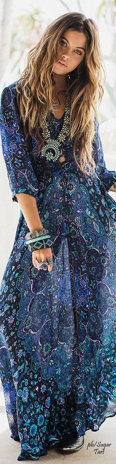 Stunning flowing blue dress. Festival Fashion, makeup, outfit ideas and style tips. More