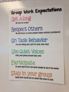 The Creative Classroom: Group Work Expectations Poster 5th Grade Classroom, Middle School Classroom, Classroom Behavior, Classroom Setup, Future Classroom, Classroom Organization, Classroom Design, Classroom Management, Behavior Management