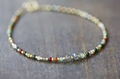 Delicate Multi Colored Agate Bracelet with por MoonLabJewelry