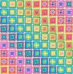 Ravelry: Summer Rainbow Blanket CAL pattern by Amanda Perkins Crochet Motifs, Crochet Blocks, Crochet Squares, Crochet Blanket Patterns, Crochet Granny, Crochet Afghans, Granny Squares, Crochet Blankets, Pdf Patterns