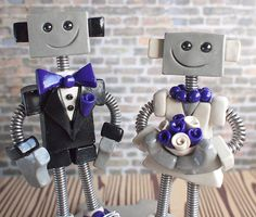 Commission: Robot Wedding Cake Topper - Classics in shades of purple by HerArtSheLoves, via Flickr