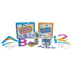 Letter and Number Construction Kit   This deluxe bundle of our popular construction sets features jumbo colorful pieces designed to form all the upper- and lowercase letters of the alphabet, and numbers 0–10. Mix and match lines, curves, dots, and hooks to build letters and numbers. All pieces have snaps to attach together to make the letters, which also help with tactile learning. It's a great way to help little learners gain handwriting skills too! Start constructing today!