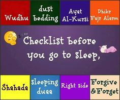 Check list before you go to sleep ✅