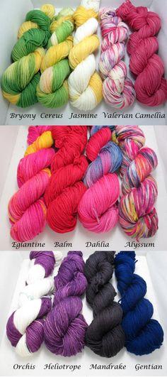 Dyed to Order Sock Yarn - Floral Inspired - Kushiel's Legacy Series - MCN Sock Yarn, Custom Skein. $26.00, via Etsy.