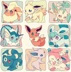 pokemon cute adorable kawaii pixiv fan art eevee flareon vaporeon espeon umbreon leafeon glaceon eeveelutions eeveelution not my art Sylveon pokepuff jotleon Pokemon Team, Pokemon Fusion, Pokemon Eeveelutions, Eevee Evolutions, Pokemon Mignon, Pocket Letter, Chibi, Pikachu, Pelo Anime