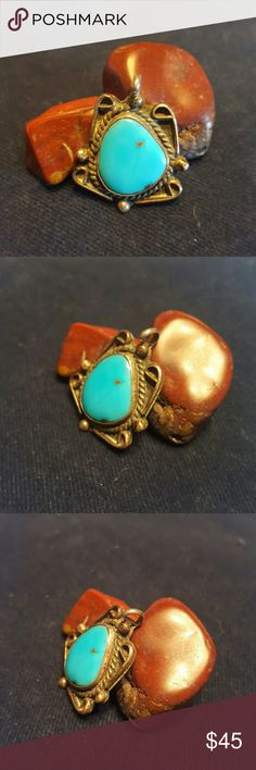 """Old Pawn Sterling Silver turquoise pendent Old Pawn Sterling Silver turquoise pendent  Signed: it has a signature that looks like it says HOPE  but is vary hard to read. Size: 1.25"""" by 1""""  If you don't like my price make me a offer! Jewelry"""