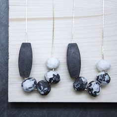 Black and white MARBLED PORCELAIN Necklace // by TheHeiressAtelier