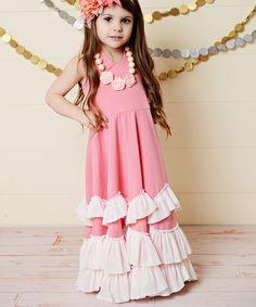 Oopsie Daisy Pink Ruffle Tiered Halter Dress - Girls | zulily