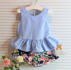 toddler girl clothing sets on sale at reasonable prices, buy 2016 Summer Kids Girls Clothes Flowers Brands Bow Backless Vest+Shorts Baby Suits Toddler Girls Clothing Set from mobile site on Aliexpress Now! Baby Outfits, Kids Outfits Girls, Toddler Girl Outfits, Girls Dresses, Toddler Girls, Kids Girls, Baby Girls, Baby Boy, Kids Christmas Outfits