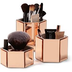 Beautify Mirrored Rose Gold Glass Hexagon Storage Pots for Makeup/ Cosmetics, Brushes, Jewelry & Accessories - Set of 3 with Glass Cleaning Cloth