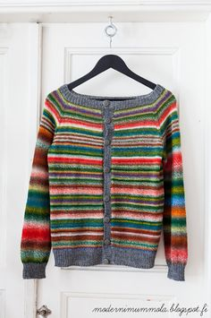 Moderni mummola Cardi knit with Zauberball Crazy Socks from Skacel in color 1701 Parrot Knitting Stitches, Baby Knitting, Crochet Cardigan, Knit Crochet, Only Cardigan, Clothes Basket, How To Purl Knit, Knit Fashion, Mantel