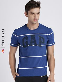 95c14d662a GAP Men's Blue & White Striped Logo Tee - | 1349 Latest Mens Wear,