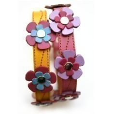 Cool Leather Dog Collar  Flowers in Yellow or Pink by thecoolpuppy, $15.99