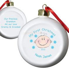 Personalised Boys First Christmas Bauble  from Personalised Gifts Shop - ONLY £9.95