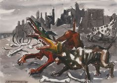jack shadbolt- the dogs- drawing, formalist drawing style Canadian Painters, Canadian Artists, Watercolour, Watercolor Paintings, Drawing Style, Art History, Vancouver, Picture Frames, Art Gallery