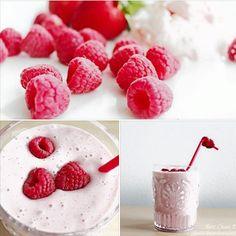 Clean eating dessert recipe: raspberry Greek yogurt smoothie | Enjoy! | #cleaneating #healthydessert #healthyeating