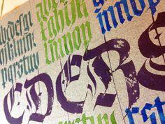 Gothic lettering on handmade paper http://www.thepassionatepen.org/faculty/roann_mathias_one_day/