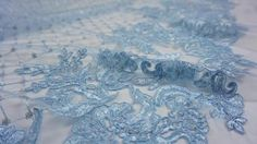 Sequin Powder Blue Embroidered Bridal Lace Fabric with Sequins for Wedding Gown Lace Weddings, Wedding Gowns, Bridal Lace Fabric, Floral Lace, Powder, Sequins, Embroidery, Detail, Blue
