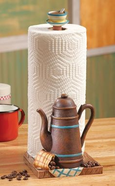 Superbe 3D Rustic Coffee Pot Kitchen Paper Towel Holder Coffee Theme Coffee Cup  Decor