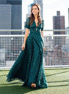 Pretty long green dress  An Emerald Polka Dot Dress On A New York City Rooftop – Sydne Style