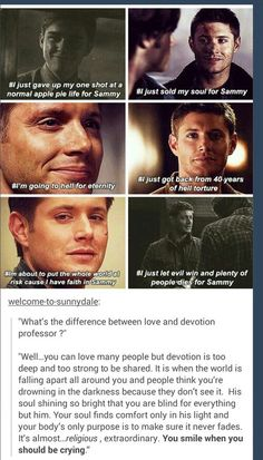 Dean did and will do anything for Sammy. #Supernatural #Dean #Sam