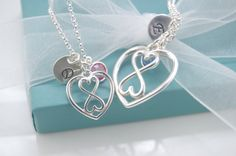 Heart Infinity Mother Daughter necklace set, Heart Infinity necklaces with initial tags, Mom Daughter necklace set on Etsy, $29.90