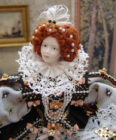 Bodice and ruff detail. Spanish King, English Monarchs, King Henry Viii, Elizabeth I, Fantasy Costumes, Anne Boleyn, Miniature Dolls, Doll Houses, Dollhouse Miniatures