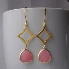 Pink Rose Diamond Gold Dangle Earrings Pink by PeriniDesigns via Polyvore