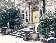 #architecture #building #bushes #cold #emergence #home #input #old #old villa #property #residence #snow #staircase #traunkirchen #villa #winter #wintry #yellow