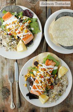 Salmon Tostadas with Lime Crema, Poblano Black Bean Rice and Roasted Corn Salsa - BoulderLocavore.com
