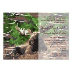 Camo Moose Hunting Theme Wedding Invitations