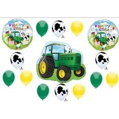 Farm Tractor Birthday Party Balloons Decorations Tractor Cow John-Deere Like Barnyard $12.99