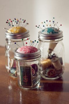 mason jar pin cushions with sewing notions... great gift idea... just add needles, needle threader, tiny scissors, few buttons, snaps, safety pins and variety of thread colors...