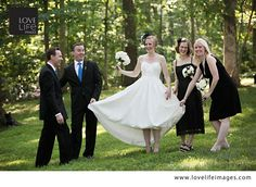 love this dress and unconventional wedding party shot!