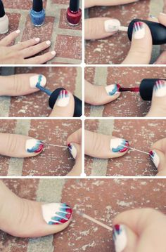 nail art - nail design - Cool and Easy Tie-dye Nails Tutorial #nail PERFECT FOR THE FOURTH!!